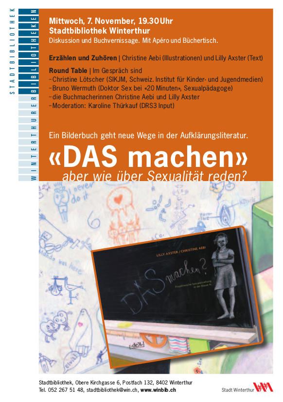 Flyer zur veranstaltung in orange und mit Buchcover