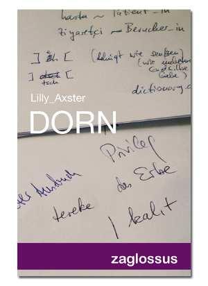 Umschlag 'Dorn' Papier mit Notizen der Autorin