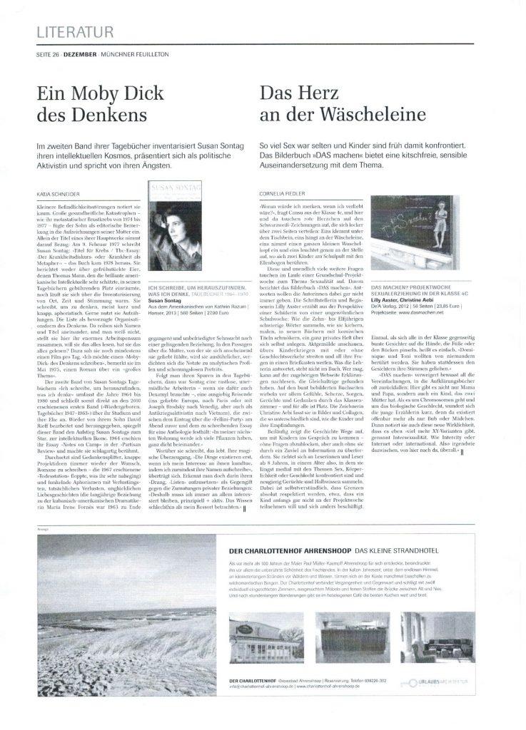 'Das Herz an der Wäscheleine' Artikel über Das amchen? im Münchner Feuilleton
