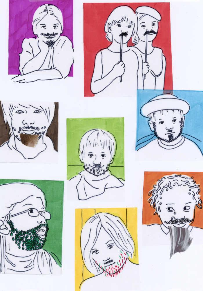 Kinder mit Bart