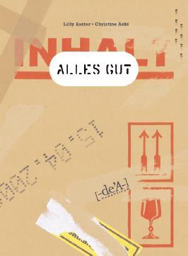 Vorderseite vom Buch 'Alles gut' Eine Seite eines Umzugskartons aus brauner Pappe.