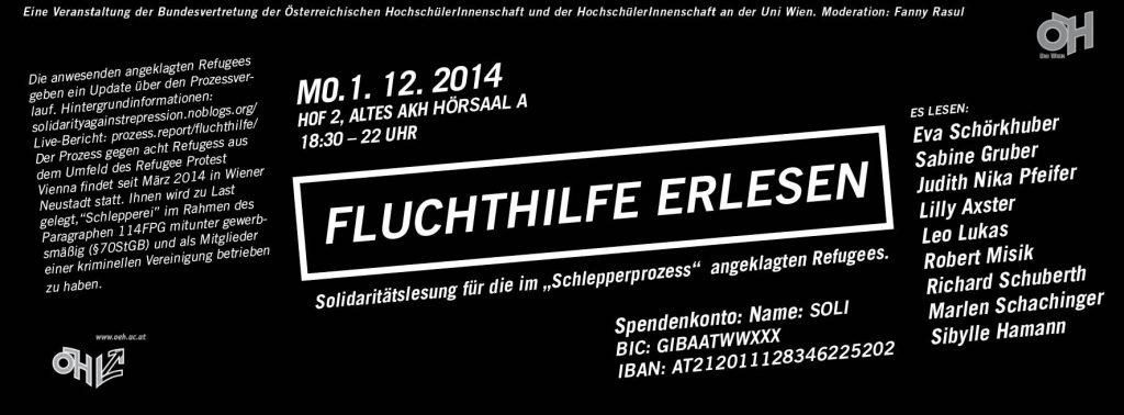 Fluchthilfe erlesen Flyer, weiss auf Schwarz gedruckt, mit Spendenkonto Information