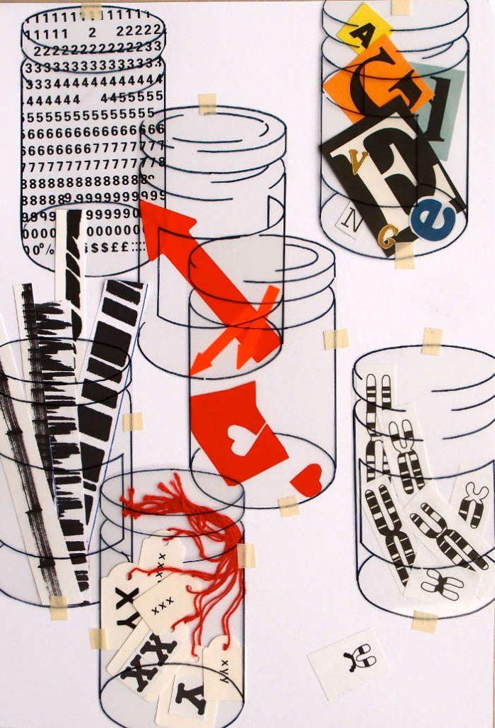 Gläser mit Buschstaben, Chromosomen, Papierstreifen etc.