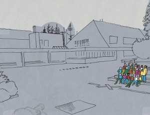 Zeichnung einer Klasse in einer Straße versammelt